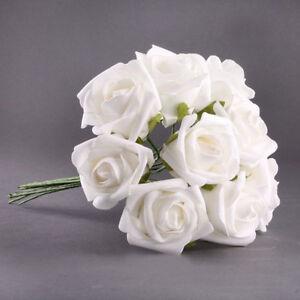 BT-20pcs-Latex-Touch-Flowers-Bouquets-Rose-Wedding-Bouquet-White