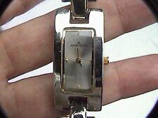 lovely anne klein 10/8225 753h womens wrist watch silver tone rectangular face