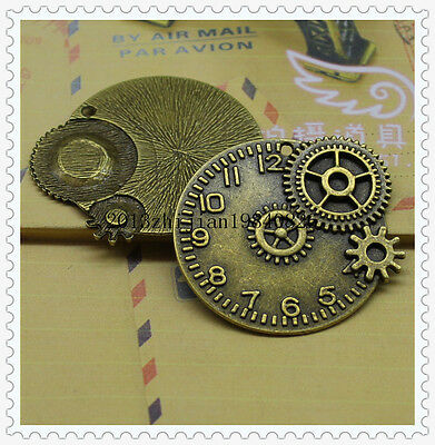 2/8pcs 45mm Antique Bronze Filigree gear Clocks and watches Charm pendant