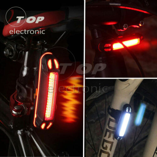 USB Rechargeable COB LED Bike Cycling MTB Bicycle Front Rear Tail Lamp Taillight