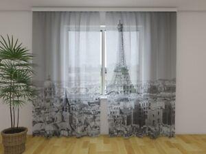 Details zu Fotogardine aus Chiffon Paris schwarz weiss Vorhang Fotodruck  Maßanfertigung