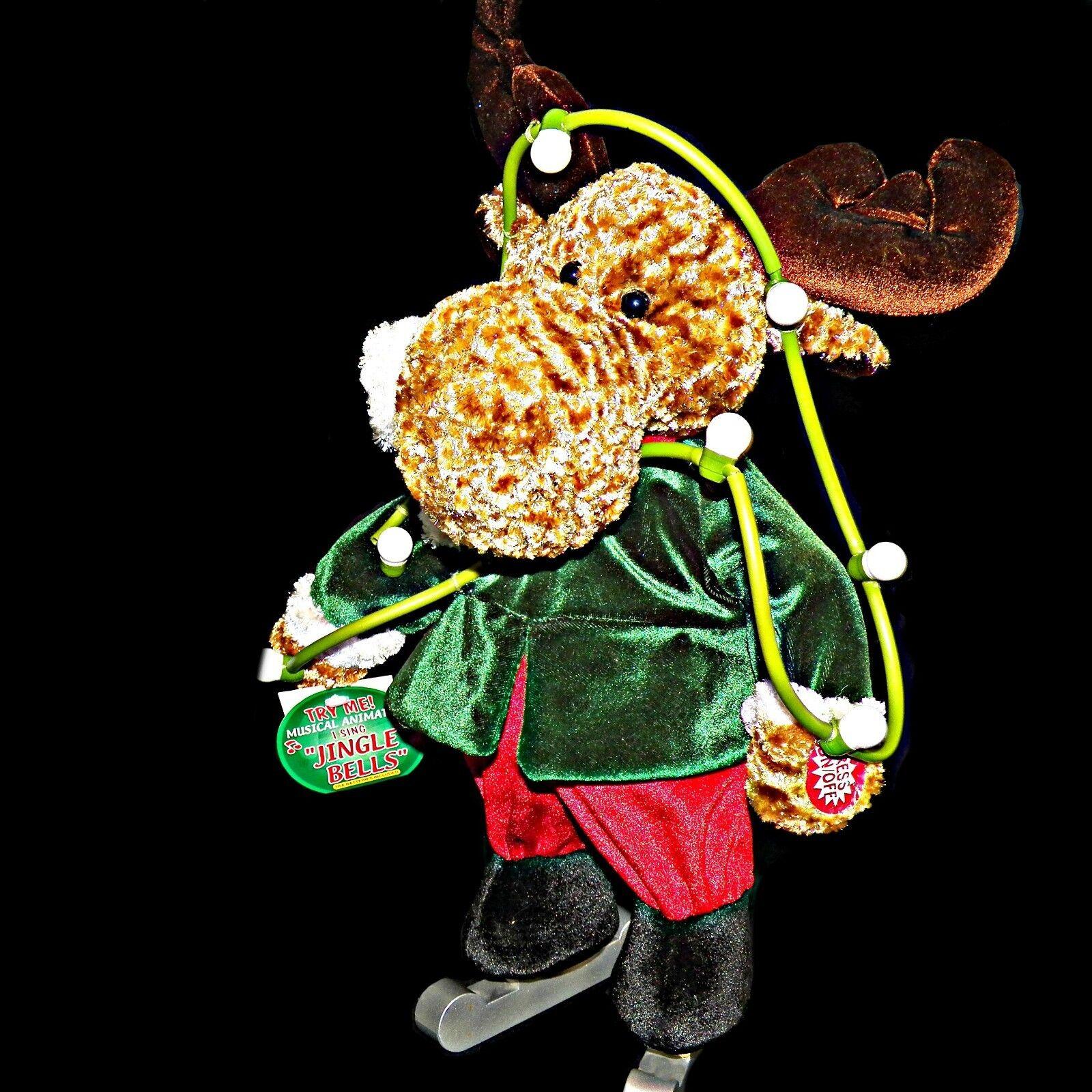 DanDee Animated Singing Ice Skates Reindeer Christmas Lights Sings Jingle Bells