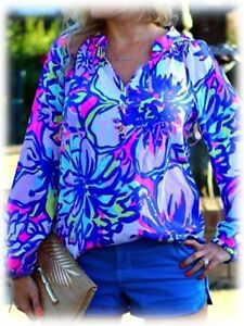 NWT Lilly Pulitzer ELSA Sunny Cold Shoulder Silk Tiki Pink XS,S,M,L,XL