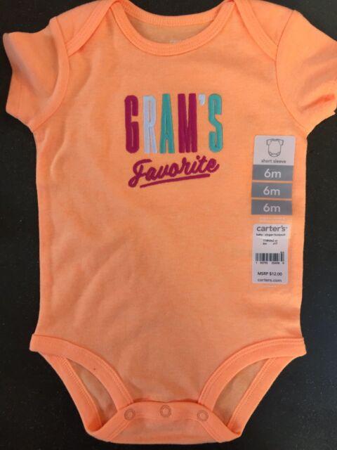 01d0c4f10 Girls 6 Months Gram's Favorite Grandma snap shirt NEW NWT Bodysuit Orange