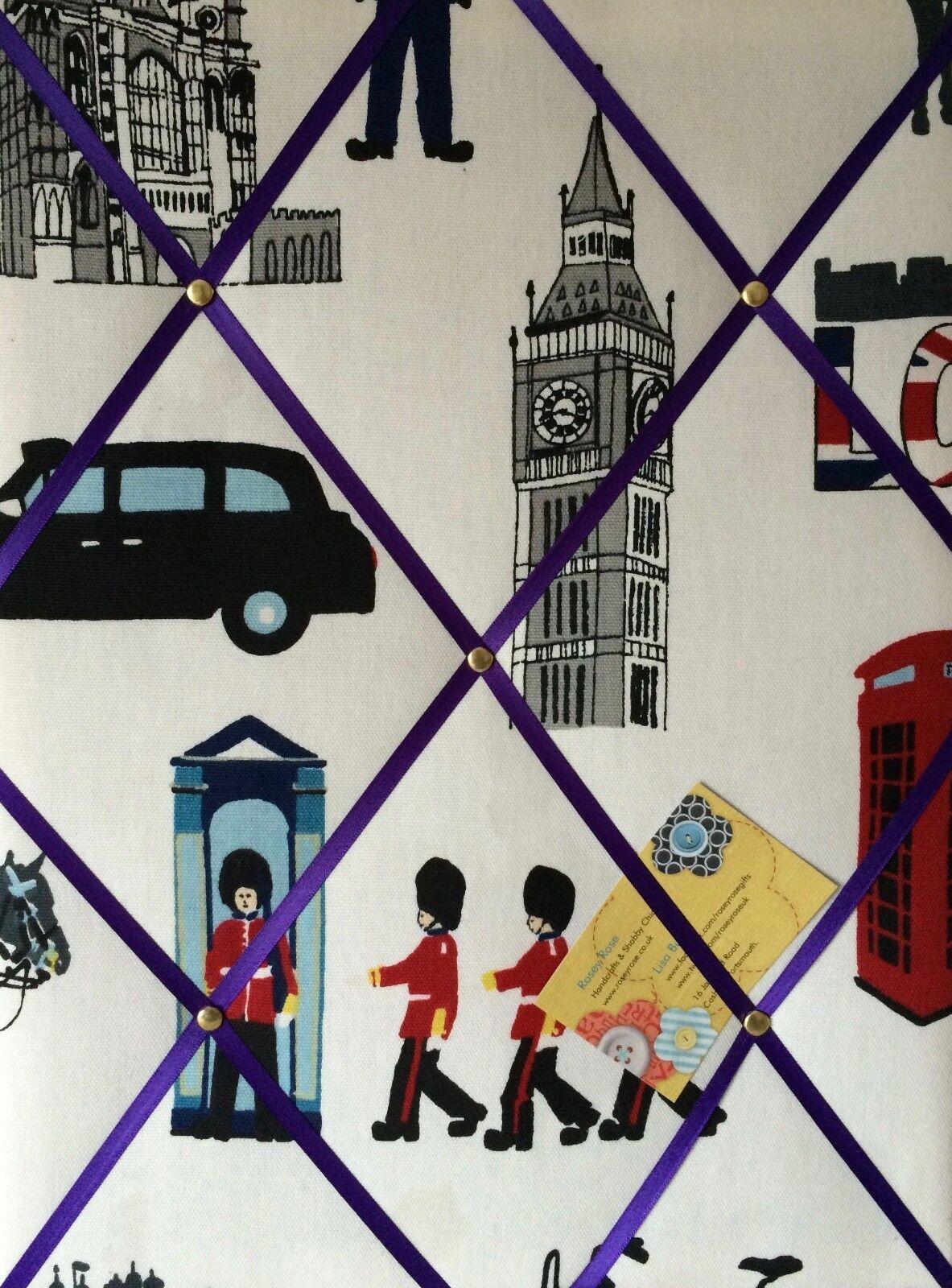Prestigious London Capital City lila Ribbon Crafted Fabric Notice Pin Board
