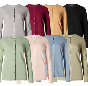 Marks-amp-Spencer-Womens-Fine-Knit-Cardigan-New-Soft-M-amp-S-Round-Neck-Cardie-Top