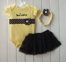 Baby Girl Clothing 3-pc Set Romper Headband Tutu Skirt Polka Dot Bumble Bee 24mo