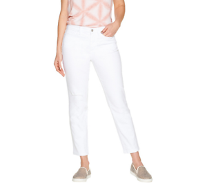 Studio by Denim & Co. Tall Classic Denim Ankle Jeans- color White Size Tall 14