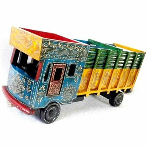 Multicolor Wooden Hand Painted Table Decor Truck