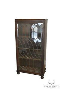 Antique-Oak-Arts-amp-Crafts-Style-Leaded-Glass-Door-Bookcase