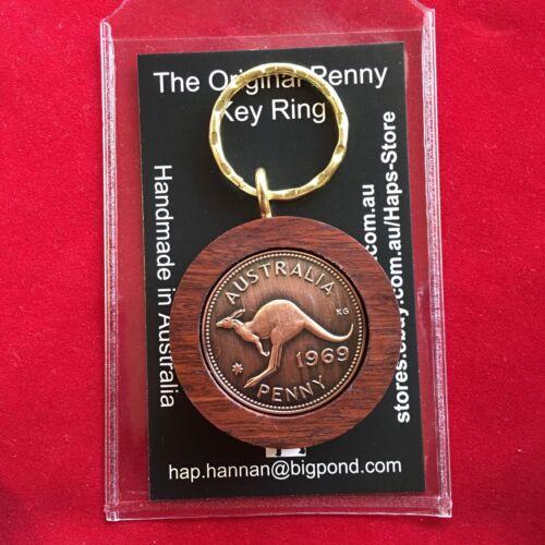 40th Wedding Anniversary Gift w// 1979 Australian Jarrah Penny Keyring Keyholder