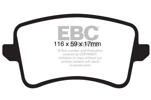 Pastillas de Freno EBC Ultimax Ultimax Ultimax trasera para Audi A5 B8 1.8 Turbo 168 2007-2011 DP1988 4c1548
