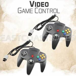 2x-Remote-Controller-Video-Game-System-Pad-for-Nintendo-64-N64-Black-Console