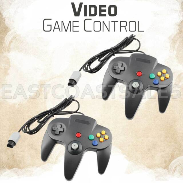 2x Remote Controller Video Game System Pad For Nintendo 64 N64 Black Console