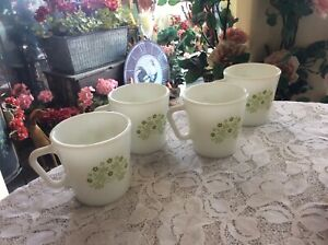 Set of 4 Pyrex coffee cups/mugs Summer Impressions green honeydew flowers