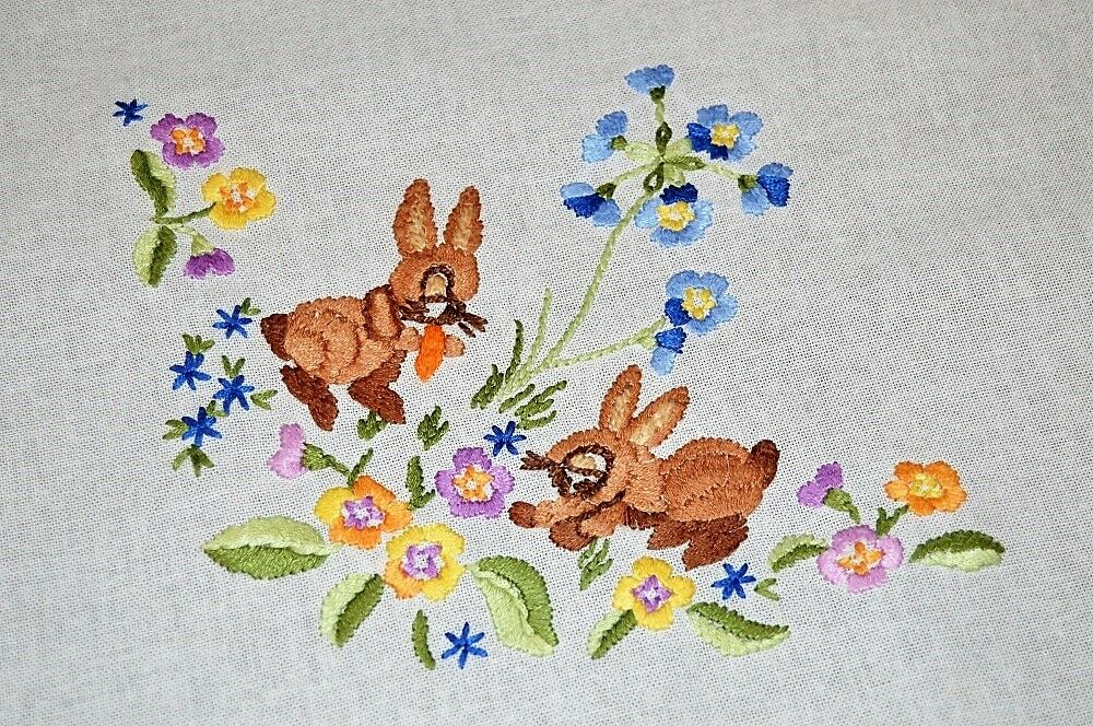 EASTER BUNNY DUO EATS CARrouge IN SPRING GARDEN  VTG GERMAN HAND EMB TABLECLOTH