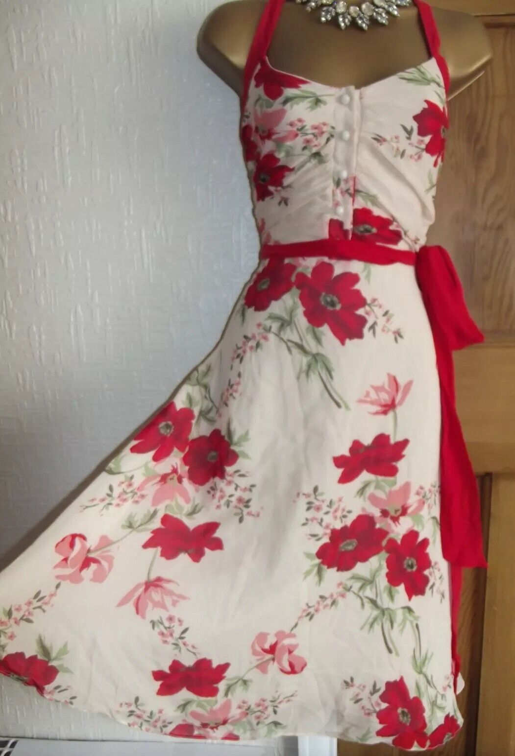 GORGEOUS  ️ RARE COAST  MADELEINE  SILK  POPPY EVENING DRESS, SIZE 10 WEDDING