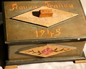World War Wwii Rouen France Handmade Gertrude Wooden 1945 Gift Box Keepsake Ebay
