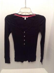 737b1454c60d5e Victoria's Secret Juniors XS/PT long sleeve black ribbed knit scoop ...