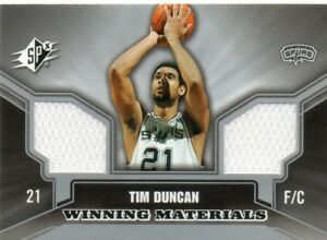 TIM-DUNCAN-2005-06-UPPER-DECK-SPX-WINNING-MATERIALS-GAME-USED-WARM-UP-CARD