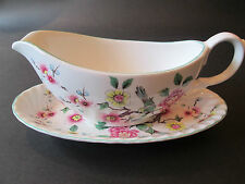 JAMES KENT OLD FOLEY GRAVY BOAT AND STAND IN CHINESE ROSE  BRITISH EARTHENWARE
