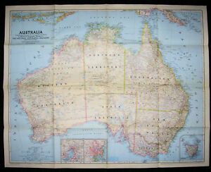 1948 World Map.Australia National Geographic Society 1948 Map Ebay