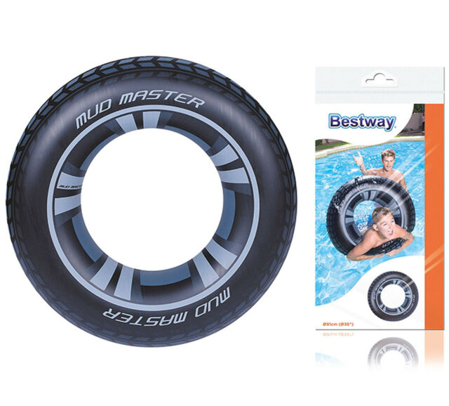 91cm Large Inflatable Swim Tube Ring Swimming Lilo Tyre Float Beach Pool Toy