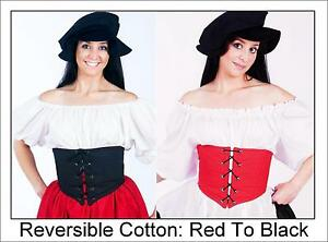 RENAISSANCE-BAR-MAID-HALLOWEEN-WENCH-PIRATE-COSTUME-WAIST-CINCHER-CORSET-Ac12-L