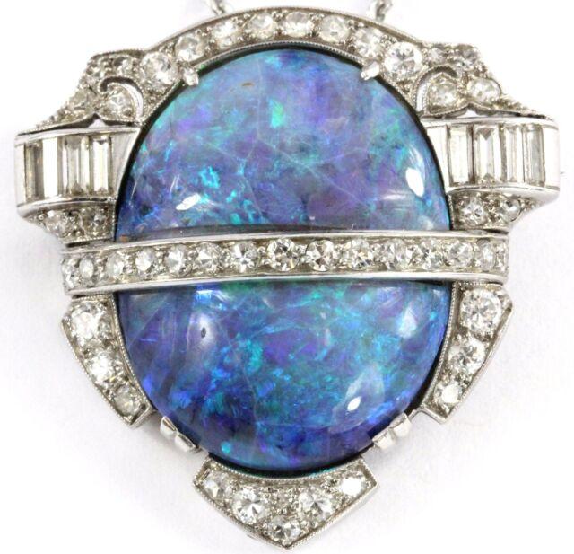 Antique Art Deco Large Opal Diamond Platinum Pendant & Necklace