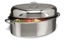 Alpine Cuisine 3 pc Stainless Steel Oval Roaster Roasting Pan Turkey Chicken