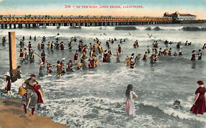 In-the-Surf-Long-Beach-California-Early-Postcard-Unused