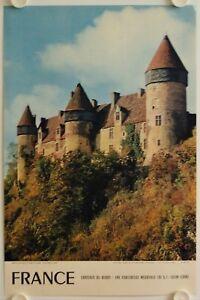 Affiche-Tourisme-France-CHATEAUX-DU-BERRY-1956-Forteresse-Medievale-CULAN
