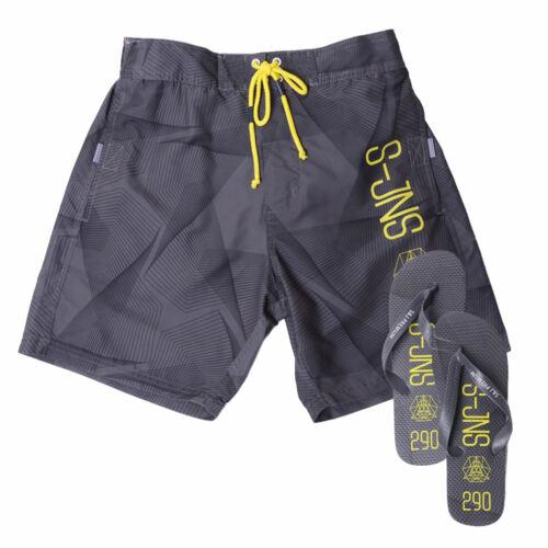Mens Swim Shorts Smith /& Jones Decible Mesh Lined Trucks With Free Flip Flops