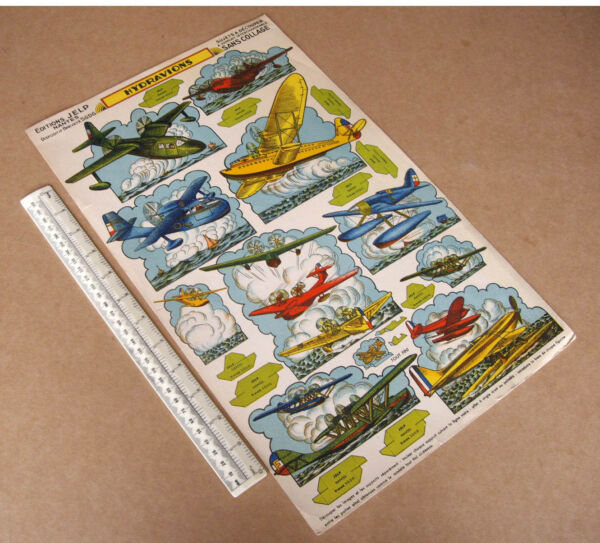 1940s/50s Vintage Flying Boats Hydravions. French Stand-ups Carte Cut-out Models Soulager La Chaleur Et La Soif.