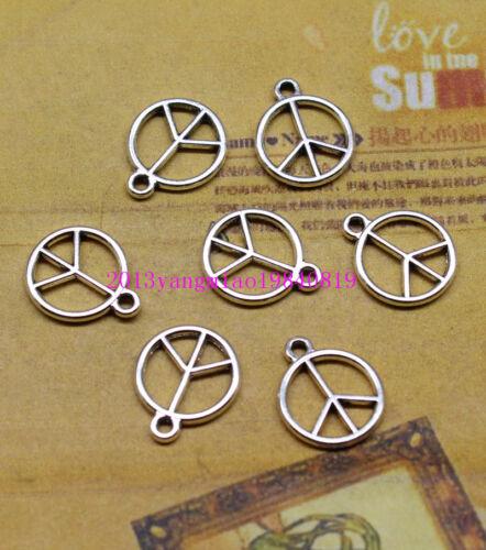 Free shipping 50//200 PCS 12 mm antique silver filigree pendant peace symbol