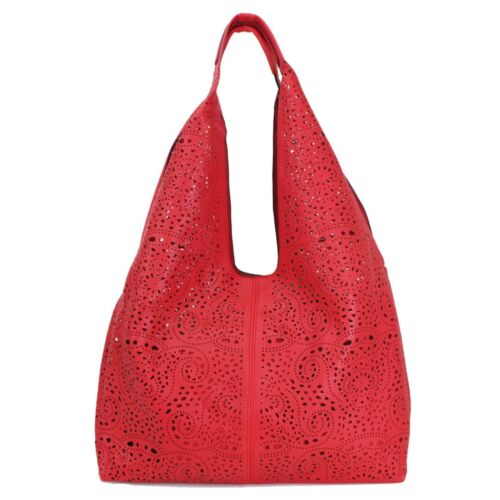 Laser Cut 2 in 1 Ladies Shoulder Cross Body Satchel Bag Women Slouch Handbag Mes
