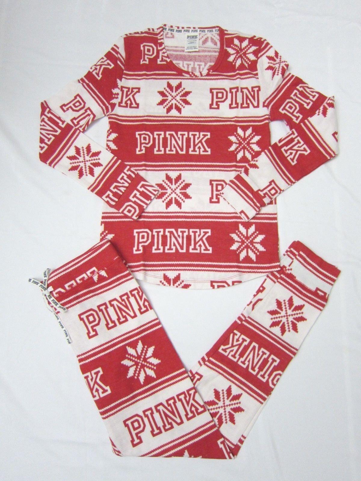 2PC Victoria Secret Pink THERMAL WAFFLE COZY SLEEP TEE LEGGING PAJAMA GIFT SET M