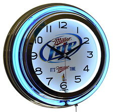"MILLER LITE It's Miller Time 15"" Double Neon Advertising Clock Bar Decor"