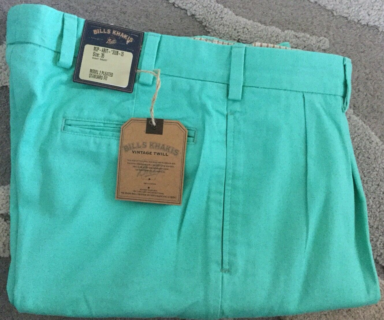 BRAND NEW -Bills khakis M2P-ABVT PLEATED Size 35X30 AQUA Vintage Twill MSRP