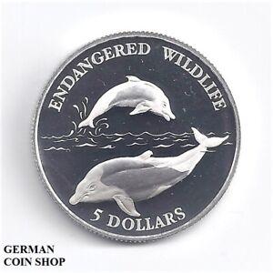 Niué 1992 5 Dollar $ Dauphin Argent Pp-silver Proof Dolphin-afficher Le Titre D'origine Brillant En Couleur