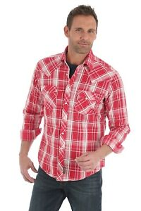 Wrangler-Retro-Men-039-s-Red-Plaid-Long-Sleeve-Pearl-Snap-Western-Shirt-MVR336M-NWT