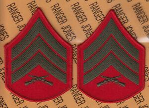 USMC Marine Corps Chevrons Green on Red E-5 Sergeant