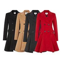 De La Crème - Women's Winter Jacket Ladies Wool Blend Double Breasted Flary Coat