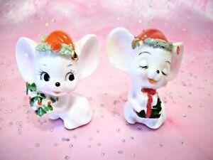 9a02b823ac0 RARE VTG Napco Christmas Mini Mice in Santa Caps Holds Tree   Gifts ...