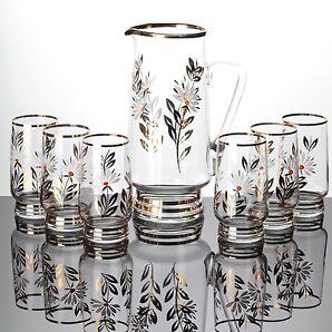 Glas Krug + 6 Becher Gläser Trinkgläser Vintage Goldrand Blumen Dekor Weiß Gold