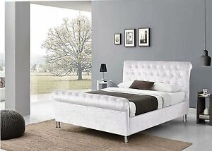 Crushed Velvet Upholstered Chesterfield Designer Sleigh Bed Frame