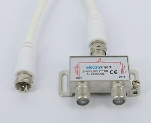 2-Way-Cable-Digital-TV-Aerial-Splitter-amp-Short-16cm-F-Plug-to-F-Plug-Patch-Lead