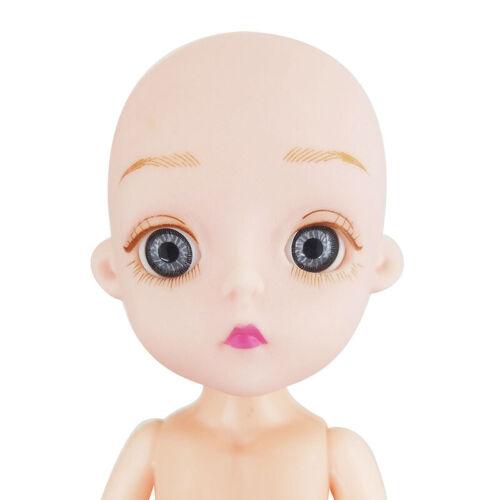 "1//8 BJD SD Doll Jointed Dolls 15cm 5.9/"" No hair Naked PVC Soft Head Hard Body"