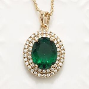 Green-Oval-Emerald-Diamond-Halo-Pendant-Chain-Necklace-14K-Yellow-Gold-Plated