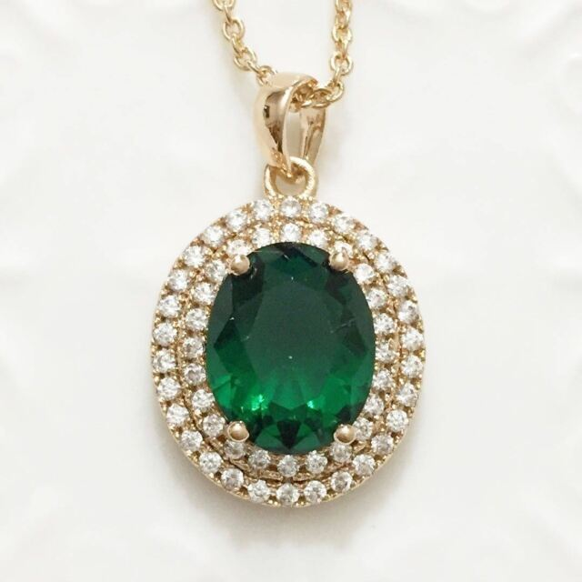 Green Oval Emerald Diamond Halo Pendant Chain Necklace 14K Yellow Gold